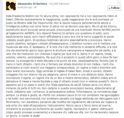 Movimento 5 Stelle Laura Boldrini Alessandro Di Battista