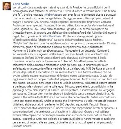 Movimento 5 Stelle Laura Boldrini Carlo Sibilia