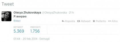Olesya Zhukovskaya volontaria tweet Ucraina guerra civile 7