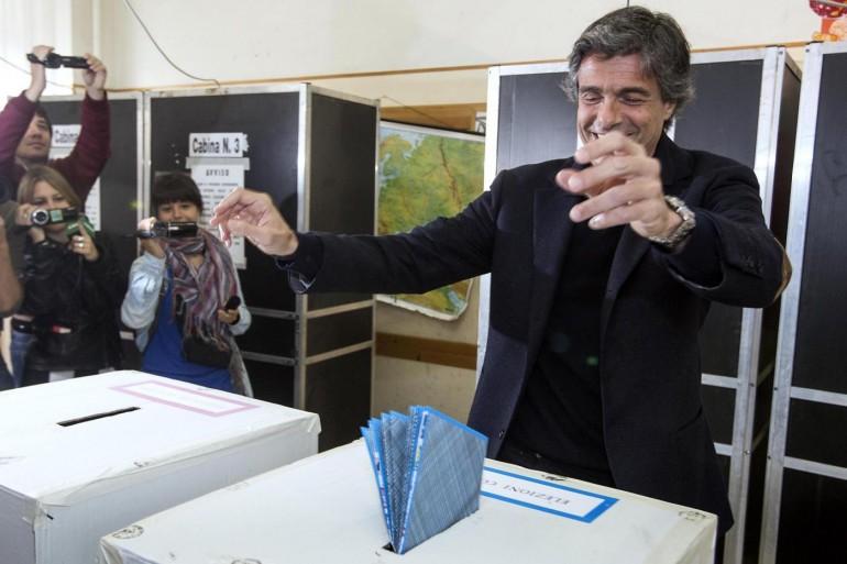 Comunali di Roma, Alfio Marchini al seggio elettorale