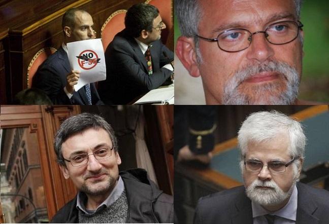 I quattro epurati, da sinistra in alto: Lorenzo Battista, Francesco Campanella, Fabrizio Bocchino, Luis Orellana