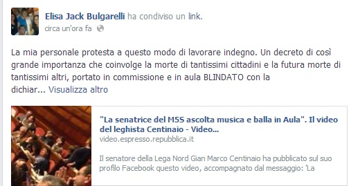 elisa bulgarelli balla in senato 2