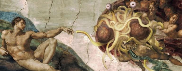 pastafariana de La creazione di Adamo di Michelangelo, Dio prestante e  barbuto è stato sostituito dallo spaghetto.