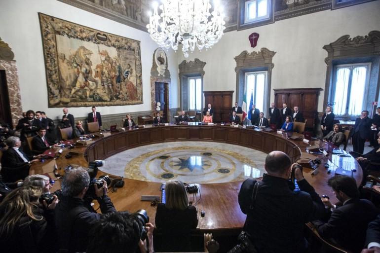 Palazzo Chigi - Insediamento del Presidente del Consiglio Matteo Renzi