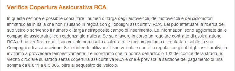 verifica copertura assicurativa  RCA ministero