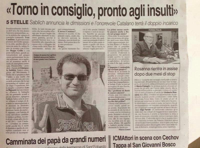 catalano consigliere busto Movimento 5 Stelle
