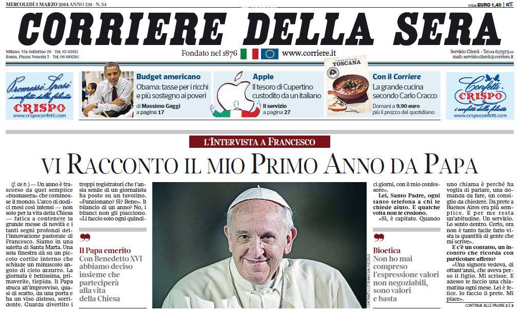 L 39 intervista di papa francesco al corriere della sera for Corriere della sera arredamento