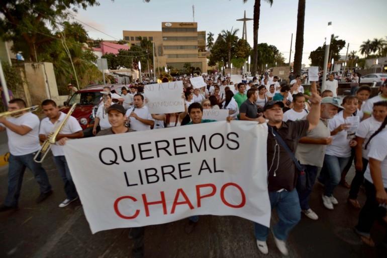 MEXICO-CRIME-DRUGS-GUZMAN-PROTEST