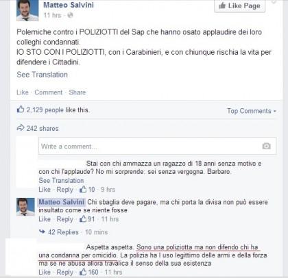 Federico Aldrovandi applausi condannati Sap Matteo Salvini