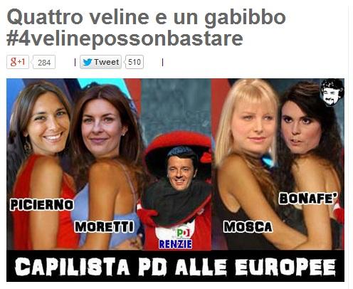 Il post di Beppe Grillo contro Matteo Renzi e le 5 candidature femminili a capolista Europee