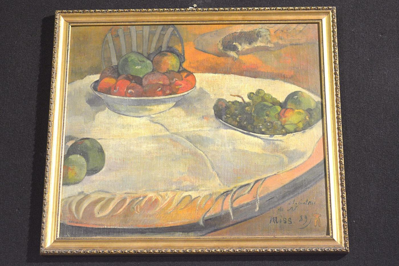 Gauguin, Fruits sur une table ou nature morte au petit chien