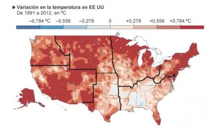 TEMPERATURE - Variazioni nelle temperature medie registrate negli Stati Uniti tra il 1991 e il 2012: in rosso gli stati che hanno subito un innalzamento delle temperature media di quasi un grado. Tra questi c'è anche l'Alaska: un'innalzamento del livello del mare farebbe scomparire gran parte delle coste dello stato