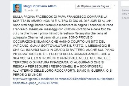 Magdi Cristiano Alla papa pagina hackerata