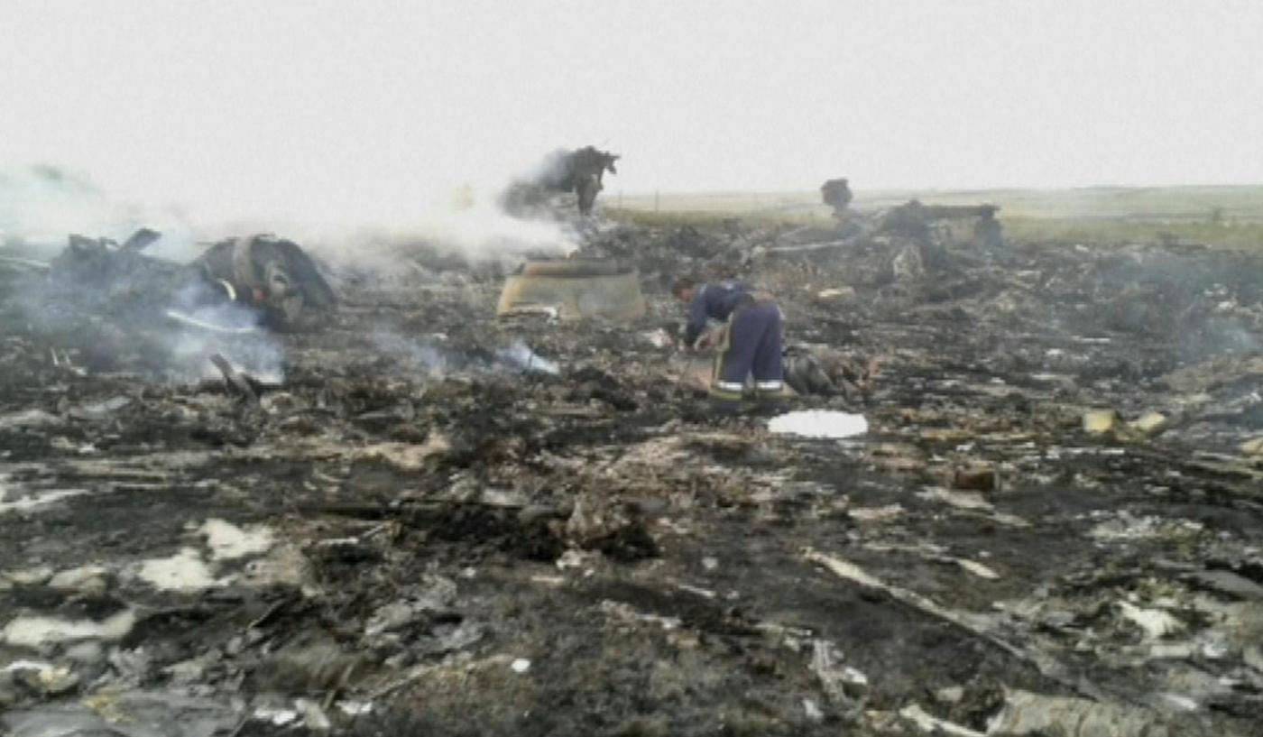 Aereo abbattuto, il luogo dello schianto in Ucraina