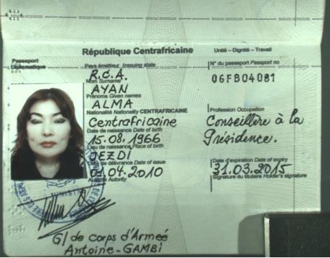 Il passaporto centrafricano di Alma Shalabayeva (LaPresse)