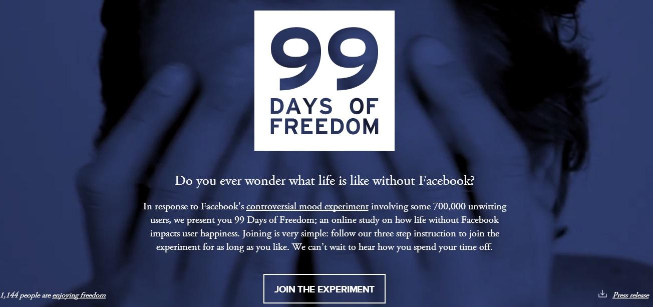 L'homepage del sito http://99daysoffreedom.com/