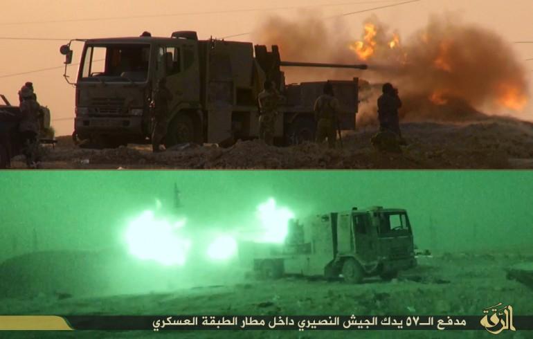 Immagini dell'ISIS che illustrano la battaglia per la presa della base di Taqba