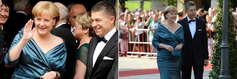 Angela Merkel al Festival di Bayreuth con lo stesso vestito nel 2008 e nel 2012, Photocredit: CHRISTOF STACHE/AFP/Getty Images,  JOERG KOCH/AFP/Getty Images