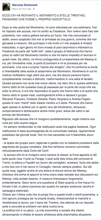 Foto: screenshot via Facebook/Manuela Bottamedi