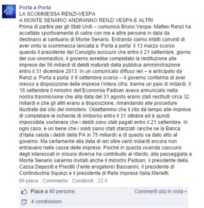 Foto: Facebook/Porta a Porta