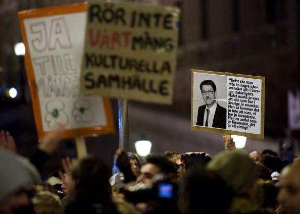 Manifestazione anti razzista contro i Democrarici svedesi, JONATHAN NACKSTRAND/AFP/Getty Images