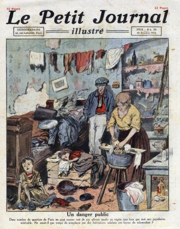 Una famiglia ffetta da Tbc in una copertina di Le Petit Journal Illustre, 30 ottobre 1921.