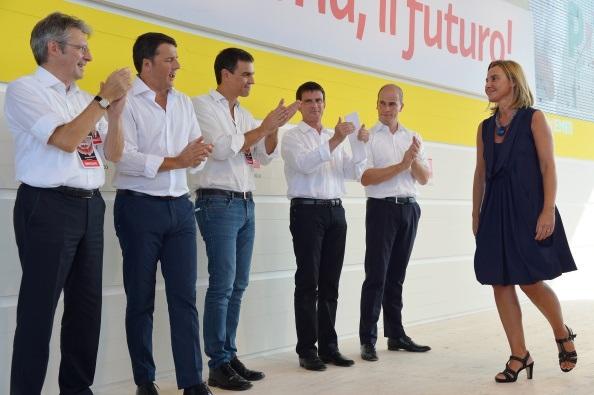 Federica Mogherini, Matteo Renzi, Pedro Sanchez, Manuel Valls e Diederik Samsom,  VINCENZO PINTO/AFP/Getty Images)