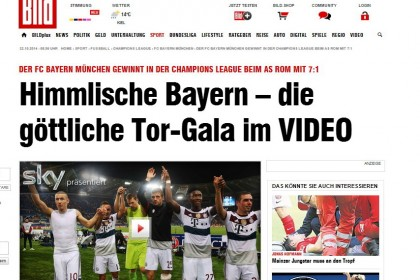 Bild titola: Bayern celeste. Il video del divino gala del gol. Photo credit: Bild.de
