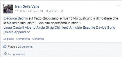 Il post pro espulsione di Della Valle con il tag su altri colleghi M5S