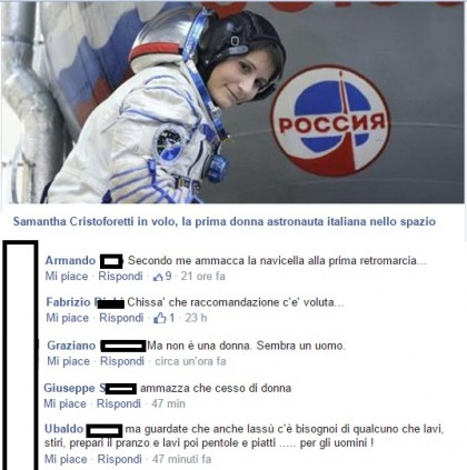 Samantha Cristoforetti commenti FB