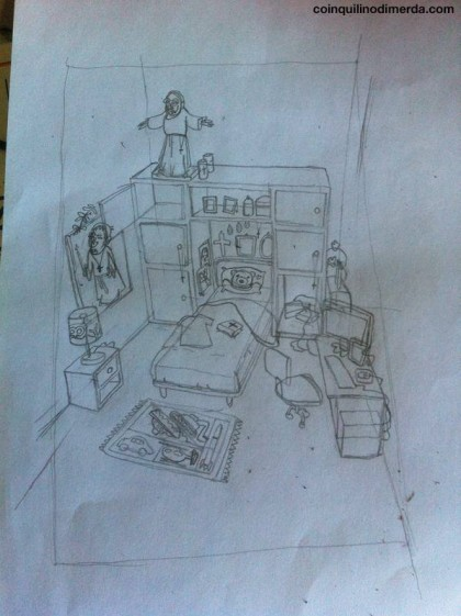 Schizzo della stanza del cdm devoto.  Credits Fb CDM