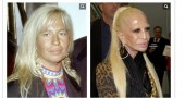 Donatellla Versace all'inizio degli anni novanta e ora. come mostrata da Bild Zeitung.  Photo credit: Screenshot di Bild.de