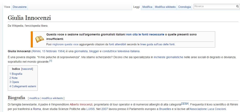 Modificata la pagina Wikipedia di Giulia Innocenzi
