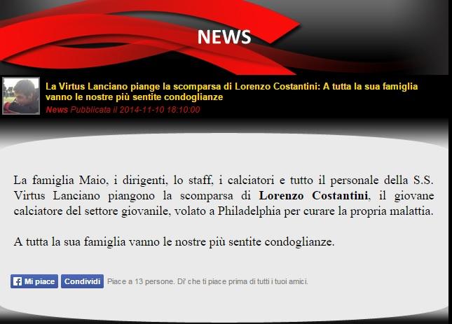 Serie B: morto Lorenzo Costantini, lottava contro la leucemia