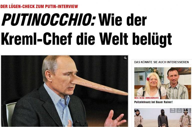 """Bild fa il  """"bugie-checking"""" sul presidente russo, titolando su """"Putinocchio: come il capo del Cremlino mente al mondo"""". Photo credit: screenshot di Bild.de"""