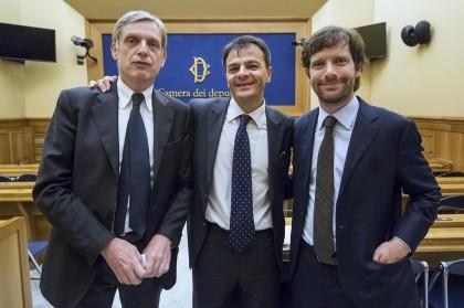 Pippo Civati, Gianni Cuperlo e Stefano Fassina. Roberto Monaldo / LaPresse
