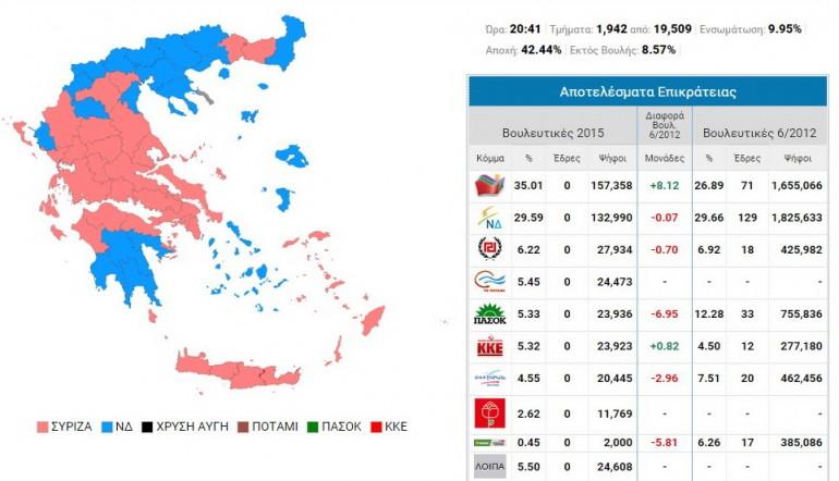 La mappa elettorale della Grecia aggiornata coi risultati reali
