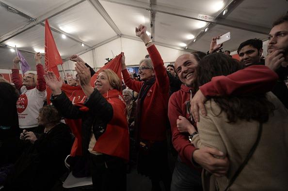 Elezioni in Grecia, festa dei sostenitori di Alexis Tsipras al quartier generale di Syriza