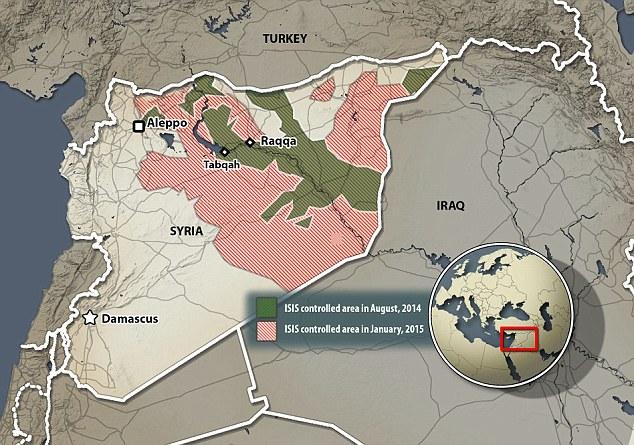 La mappa della presenza dell'ISIS in Siria, via la Coalition for a Democratic Syria