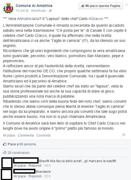 Facebook/Comune di Amatriciana