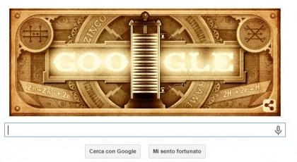 Il doodle di Alessandro Volta in azione