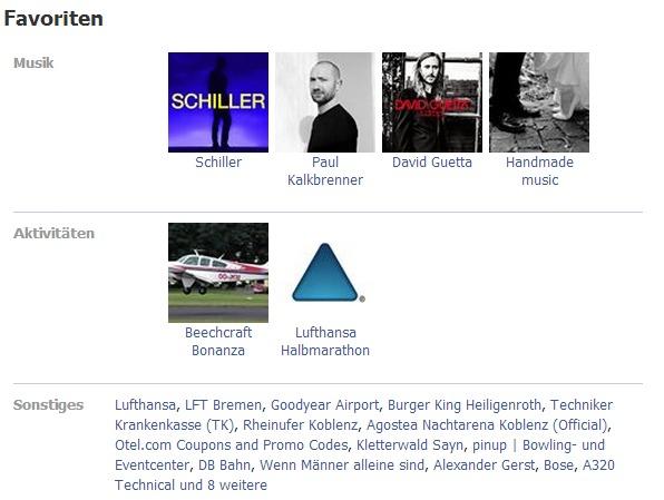 ANDREAS LUBITZ, Gli interessi di Andreas Lubitz elencati nella sua pagina Facebook