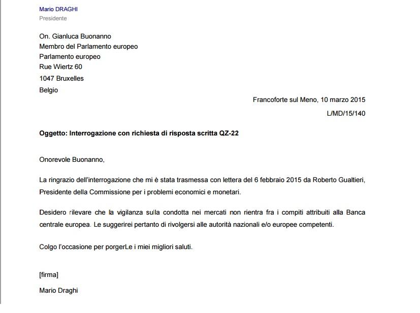 Mario Draghi risponde alla lettera di Gianluca Buonanno