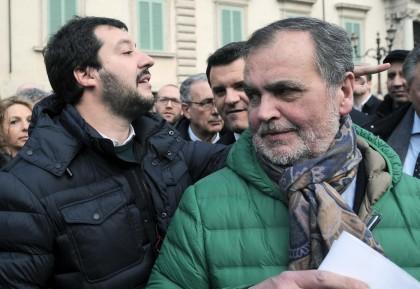 Protesta della Lega sotto il Palazzo Della Consulta
