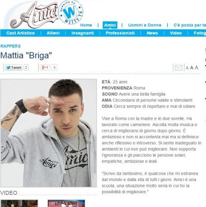 La scheda di Mattia Briga sul sito di Amici di Maria De Filippi - mariadefilippi.mediaset.it
