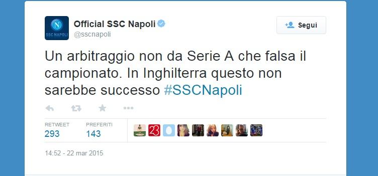 Napoli-Atalanta, la rabbia del Napoli contro l'arbitro Calvarese