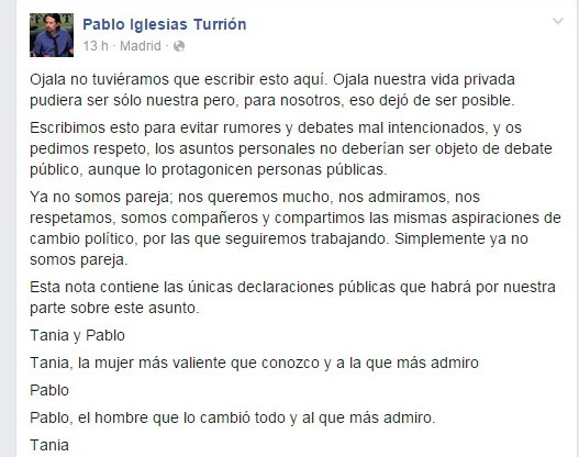 Pablo Iglesiasi di Podemos si lascia con Tania Sanchez