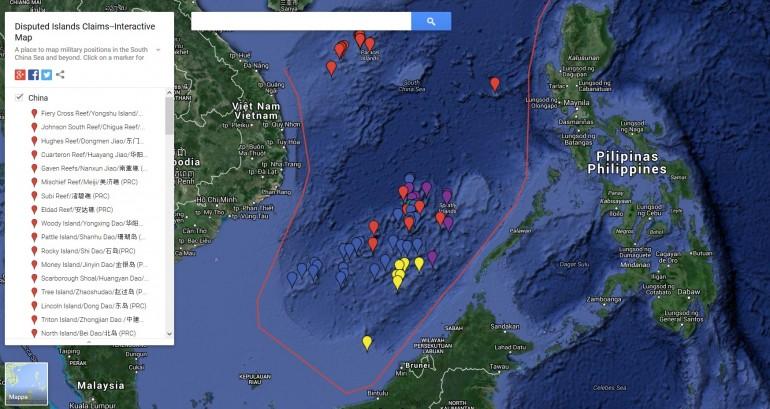 La più aggiornata mappa interattiva delle rivendicazioni sulle Spratly e isole limitrofe
