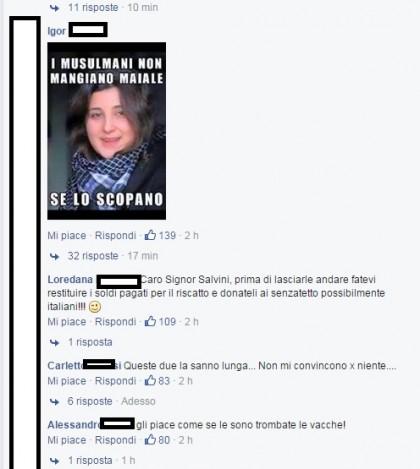 Gli insulti sotto la bachehca di Salvini  (https://www.facebook.com/salviniofficial/posts/10152841997593155?comment_id=10152842027778155&offset=0&total_comments=1676)