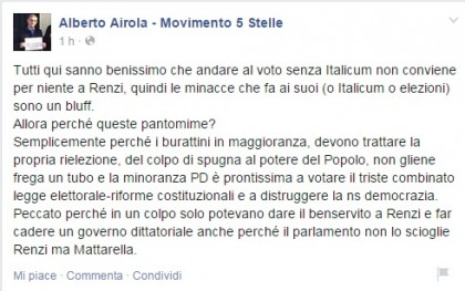 Lo status del senatore Alberto Airola